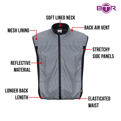 BTR Reflective Cycling & Running Gilet& Vest Classic Style