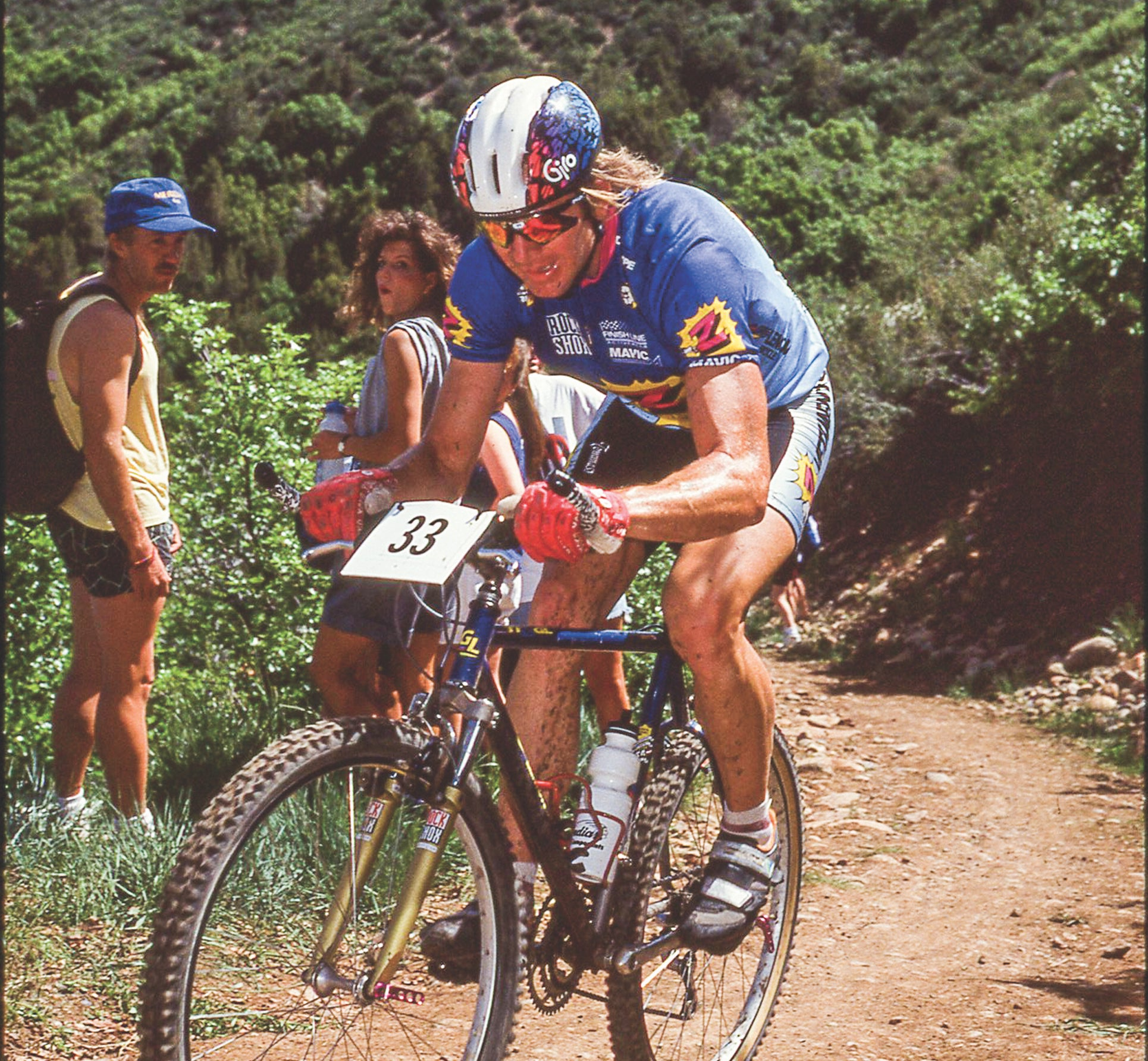 Bob Roll racing mountain bikes in the early 1990s