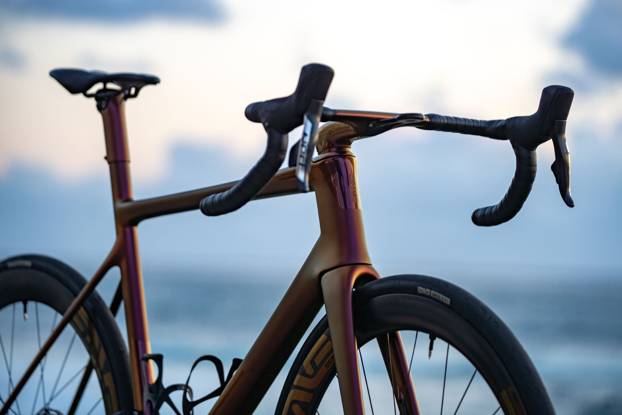 ENVE Custom Road bike with that sunset lightbro