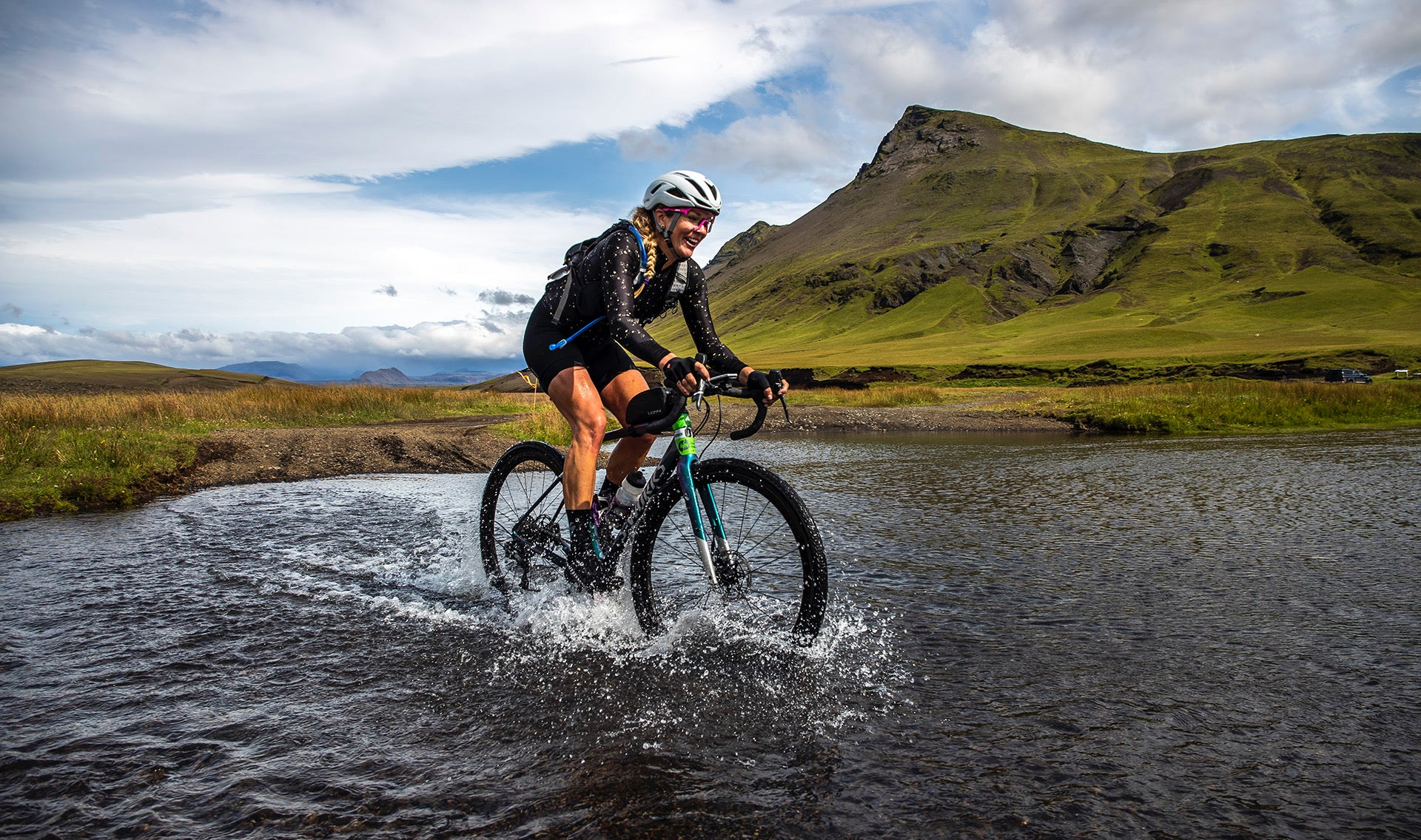 Alison Tetrick riding The Rift Iceland gravel race