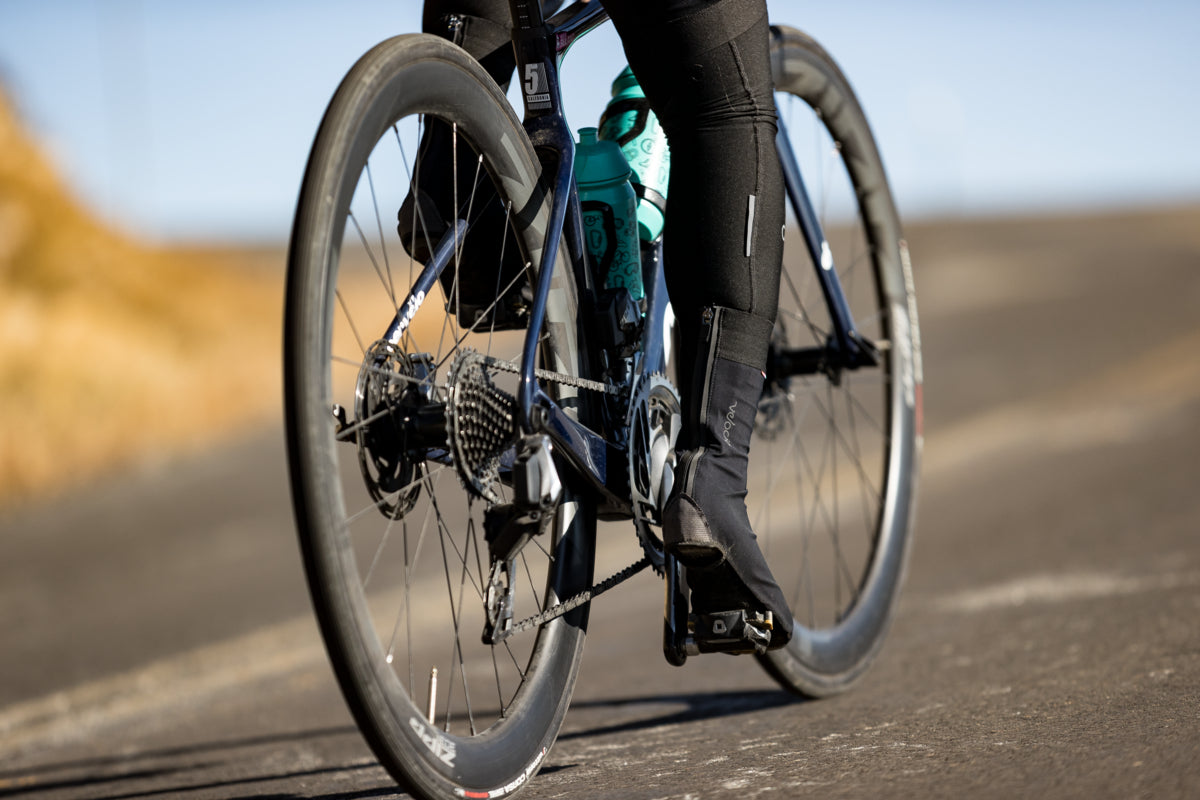Road bike pedals in action