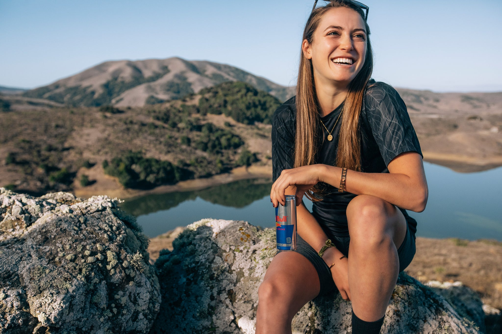 Kate Courtney chilling on a rock