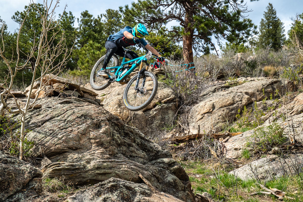 Sending a drop-off at the Session Enduro MTB race