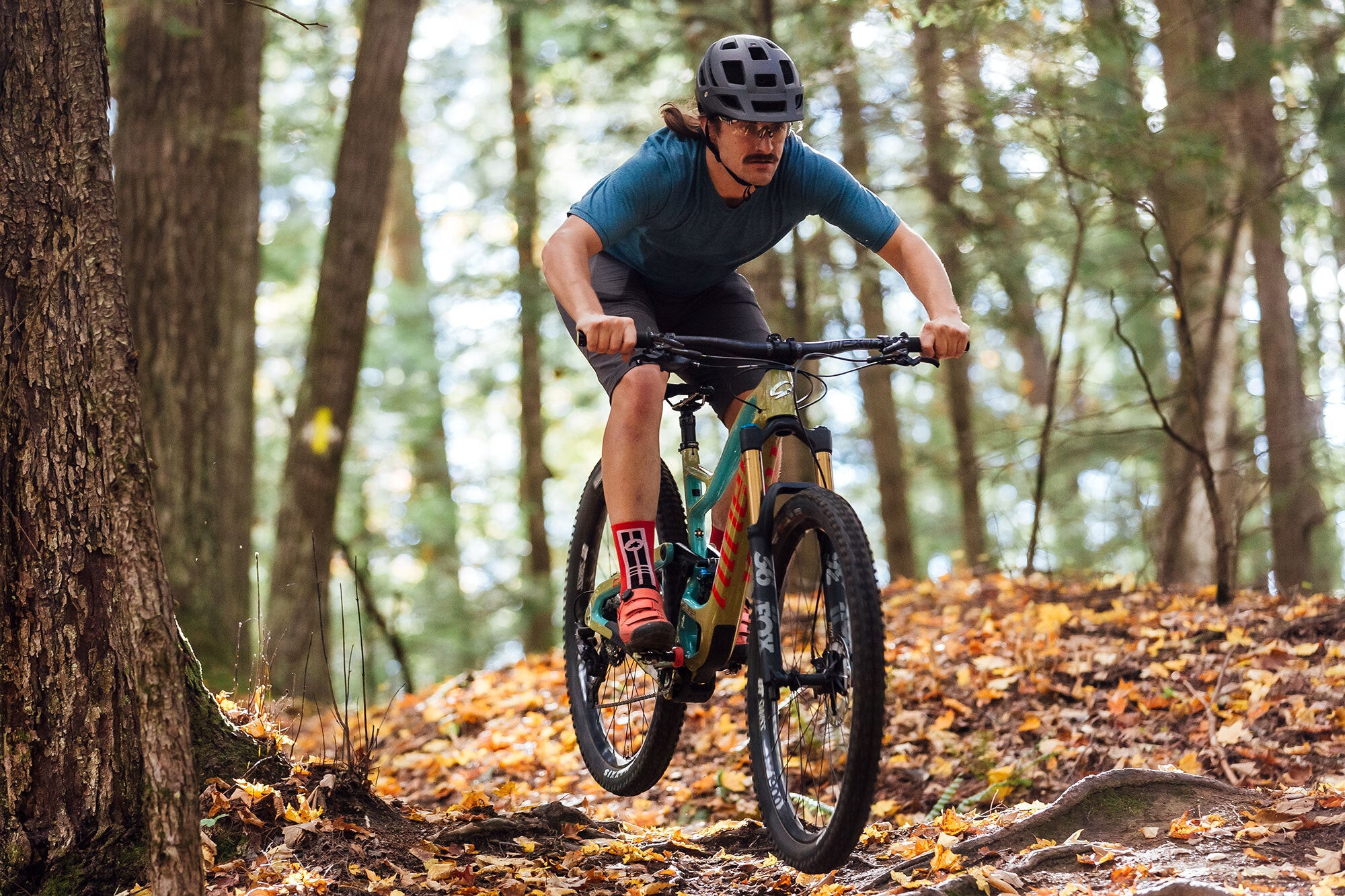 Mountain biking on a neat trail in New England