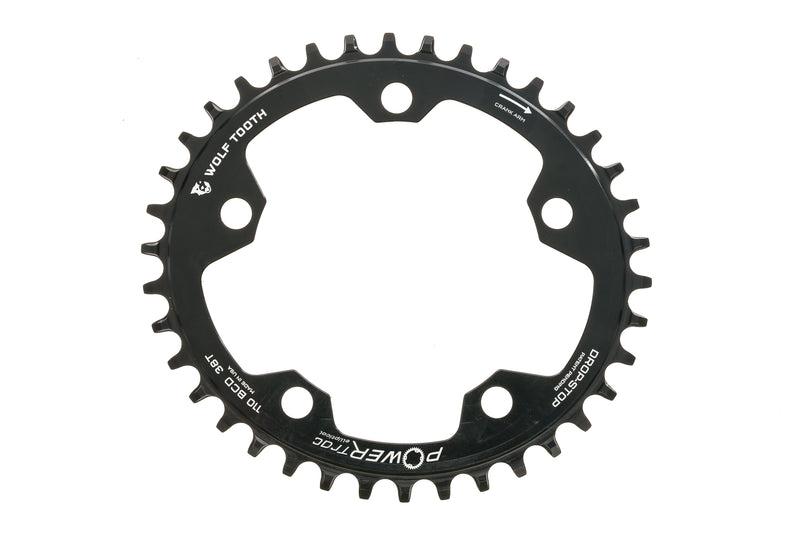 Wolf Tooth Components PowerTrac Elliptical Chainring 38T 11 Speed 110 BCD drive side
