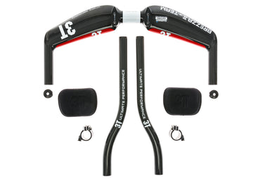 3T Brezza II Team Aerobar  31.8mm x 40cm w/ Carbon S-Bend Extensions Black/Red - Pre-Owned