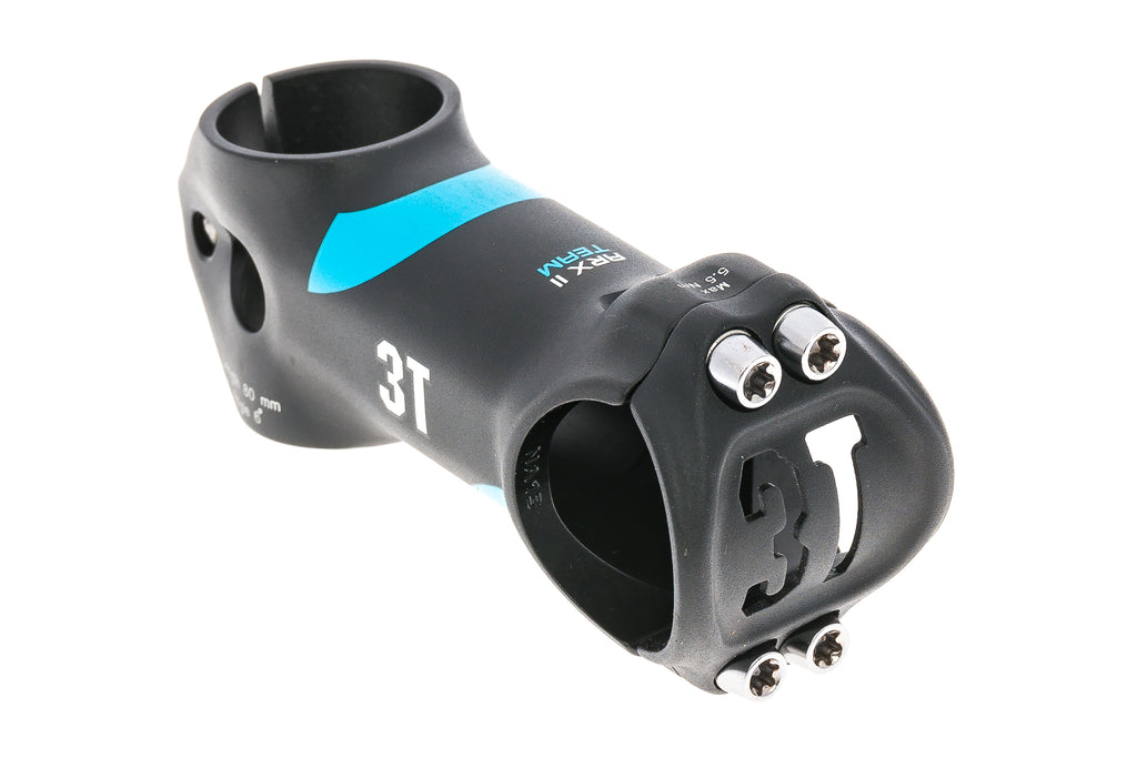 3T ARX II Team Alloy Stem 31.8mm Clamp 80mm 6 Degree Black/Turquoise - Pre-Owned
