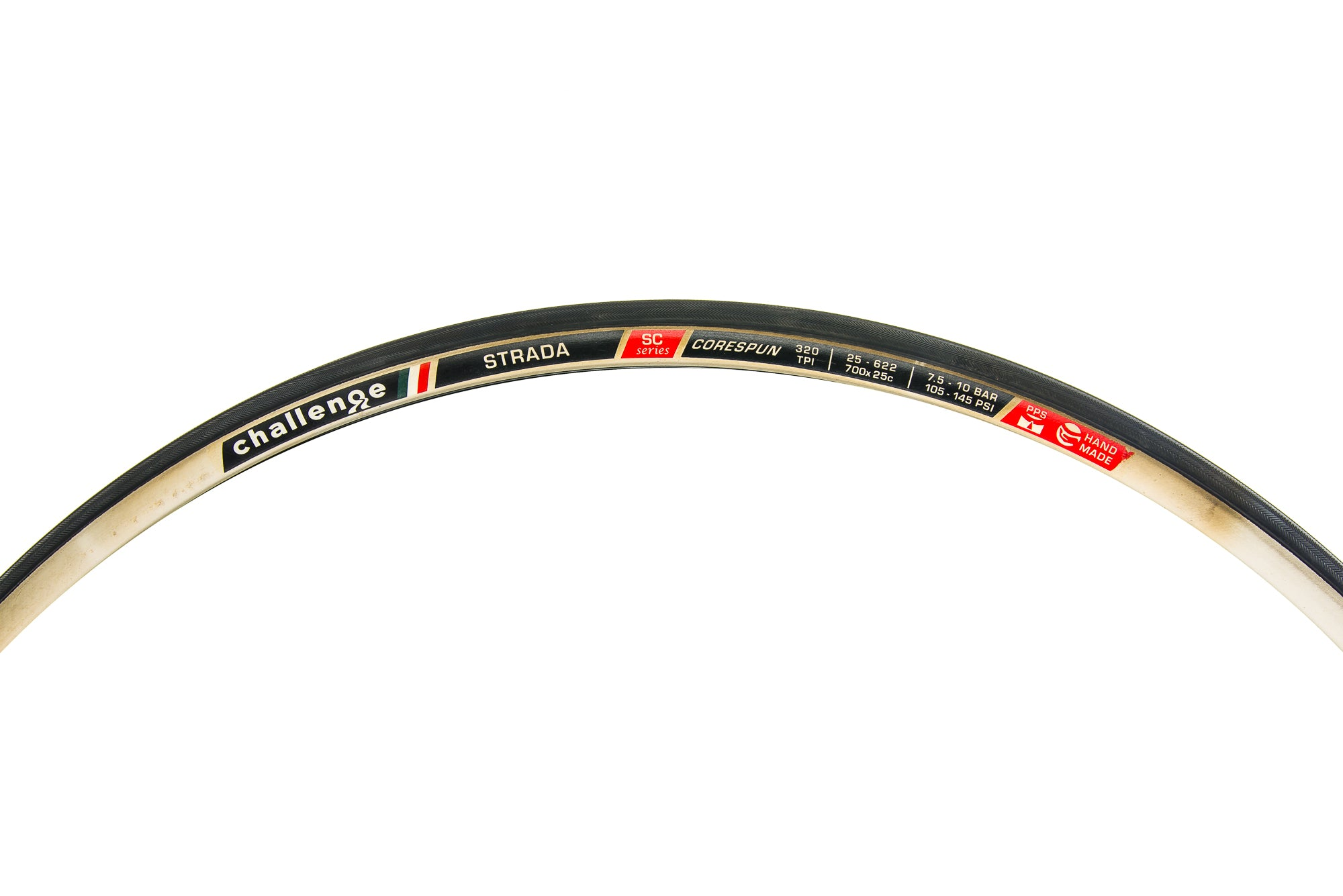 Challenge Strada SC Series Tire 700x25c 320 TPI Clincher Black/Cream - Pre-Owned