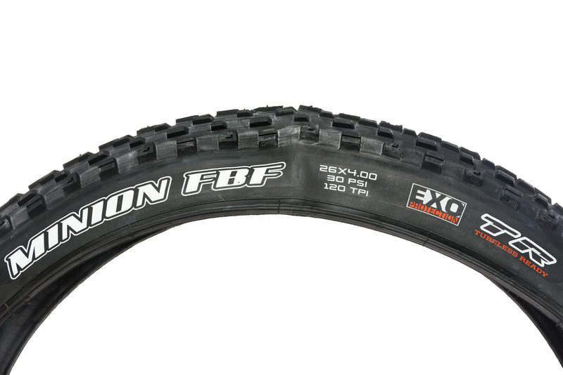 "Maxxis Minion FBF Tire 26x4.0"" 120 TPI Tubeless EXO Protection drive side"