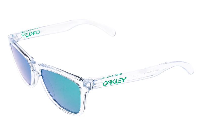Oakley Frogskins Sunglasses Clear Frame Green Iridium Lens drive side