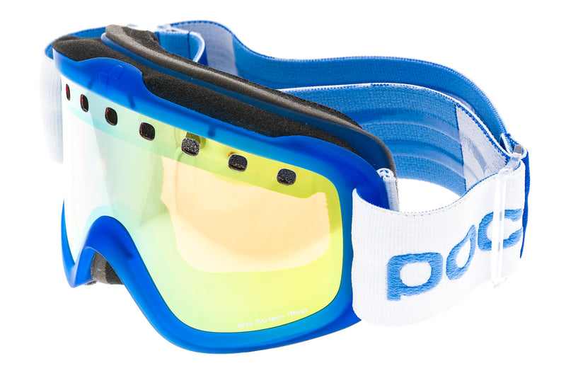 POC Iris Stripes Goggles Blue Frame Pink and Gold Mirror Lenses drive side