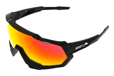 100% Speedtrap Sunglasses Matte Black Frame Hiper Red/Mirror/Clear Lenses