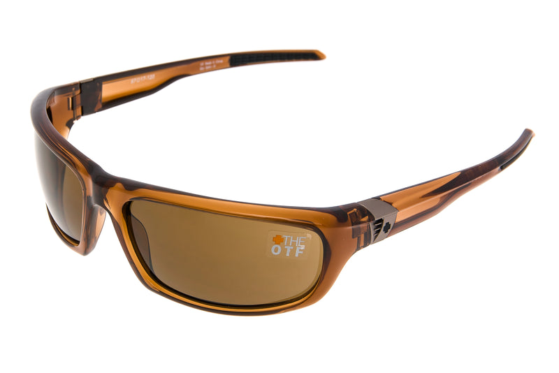 SPY OTF Sunglasses Translucent Brown Frame Bronze Lens drive side