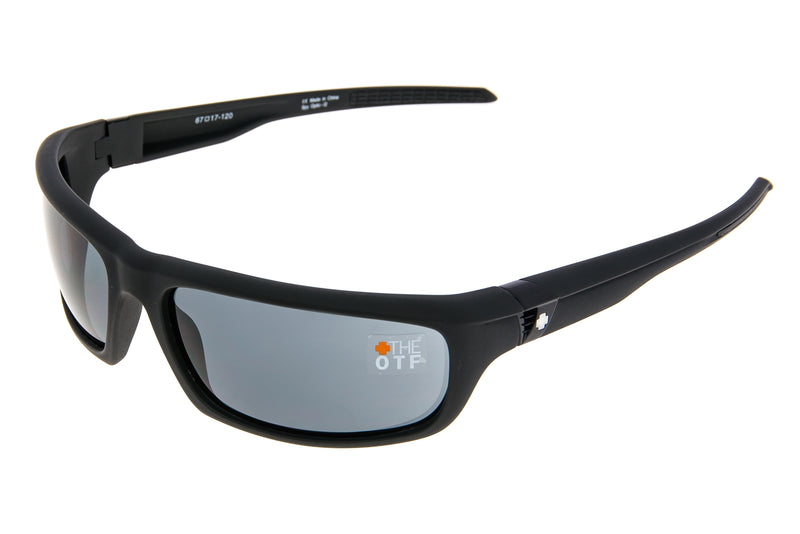 SPY OTF Sunglasses Matte Black Frame Grey Lens drive side