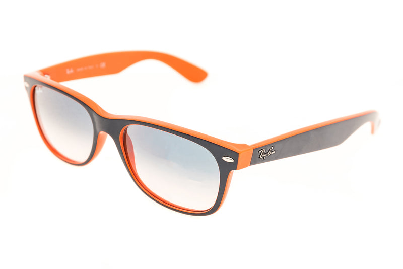 Ray-Ban New Wayfarer Sunglasses Blue-Orange Frame Crystal Gradient Light Blue Lens drive side