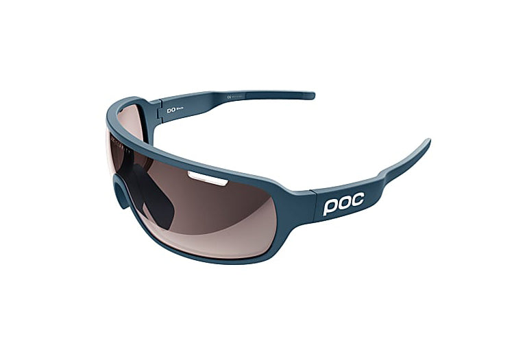 POC  DO Blade Clarity Sunglasses Antimony Blue Frame Brown Silver Mirror Lens drive side
