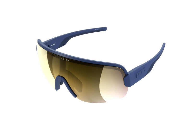 POC Aim Clarity Sunglasses Lead Blue Frame Violet Gold Mirror Lens drive side