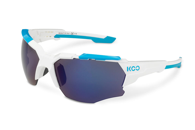 KOO Orion Sunglasses White/Light Blue Medium drive side