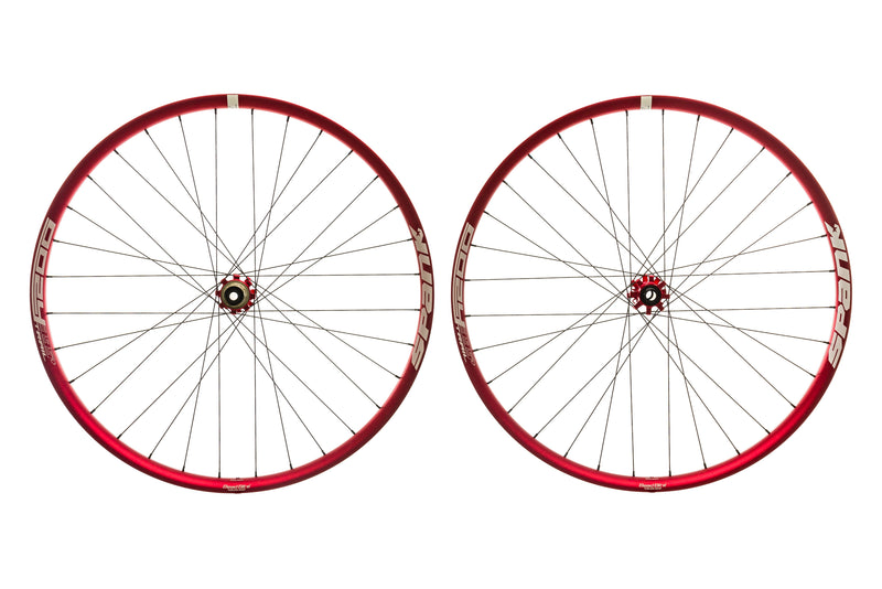 "Spank Oozy Trail 395+ Aluminum Tubeless 29"" Wheelset Red drive side"
