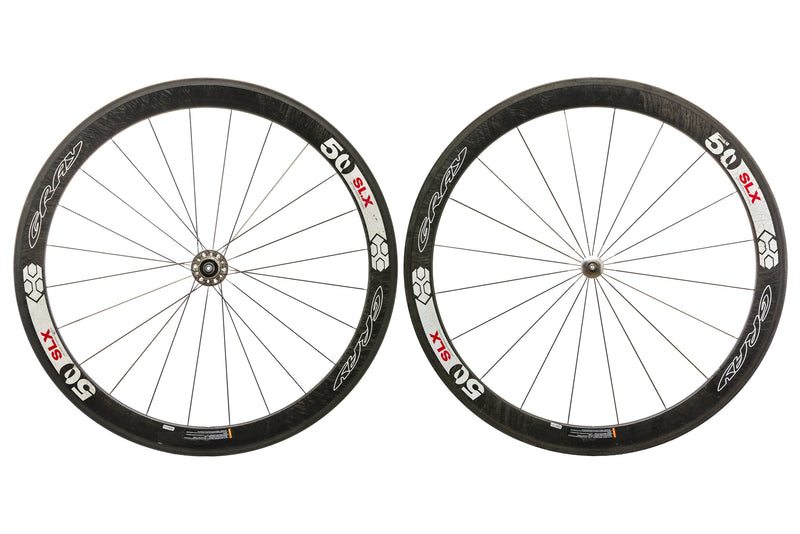 Gray 50 SLX Carbon Tubular 700c Wheelset drive side