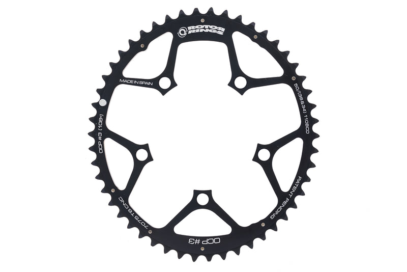 Rotor Aero Q-Ring OCP #3 Chainring 10 Speed 50T 110mm BCD Black drive side