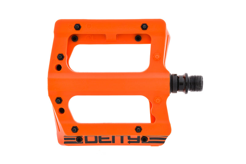 "Deity Compound V2 Pedals Flat Orange Plastic 9/16"" drive side"