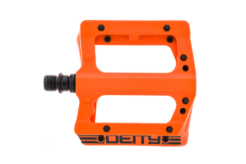 "Deity Compound V2 Pedals Flat Orange Plastic 9/16"" non-drive side"
