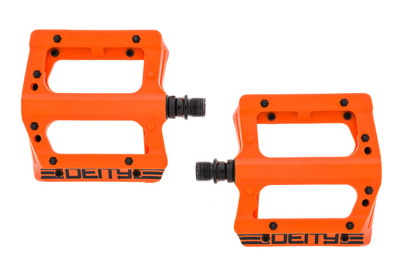 "Deity Compound V2 Pedals Flat Orange Plastic 9/16"" sticker"
