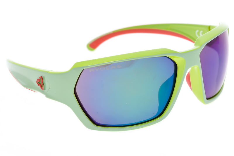 Ryders Eyewear Face Sunglasses Green/Red Frame Green Mirror Lens drive side