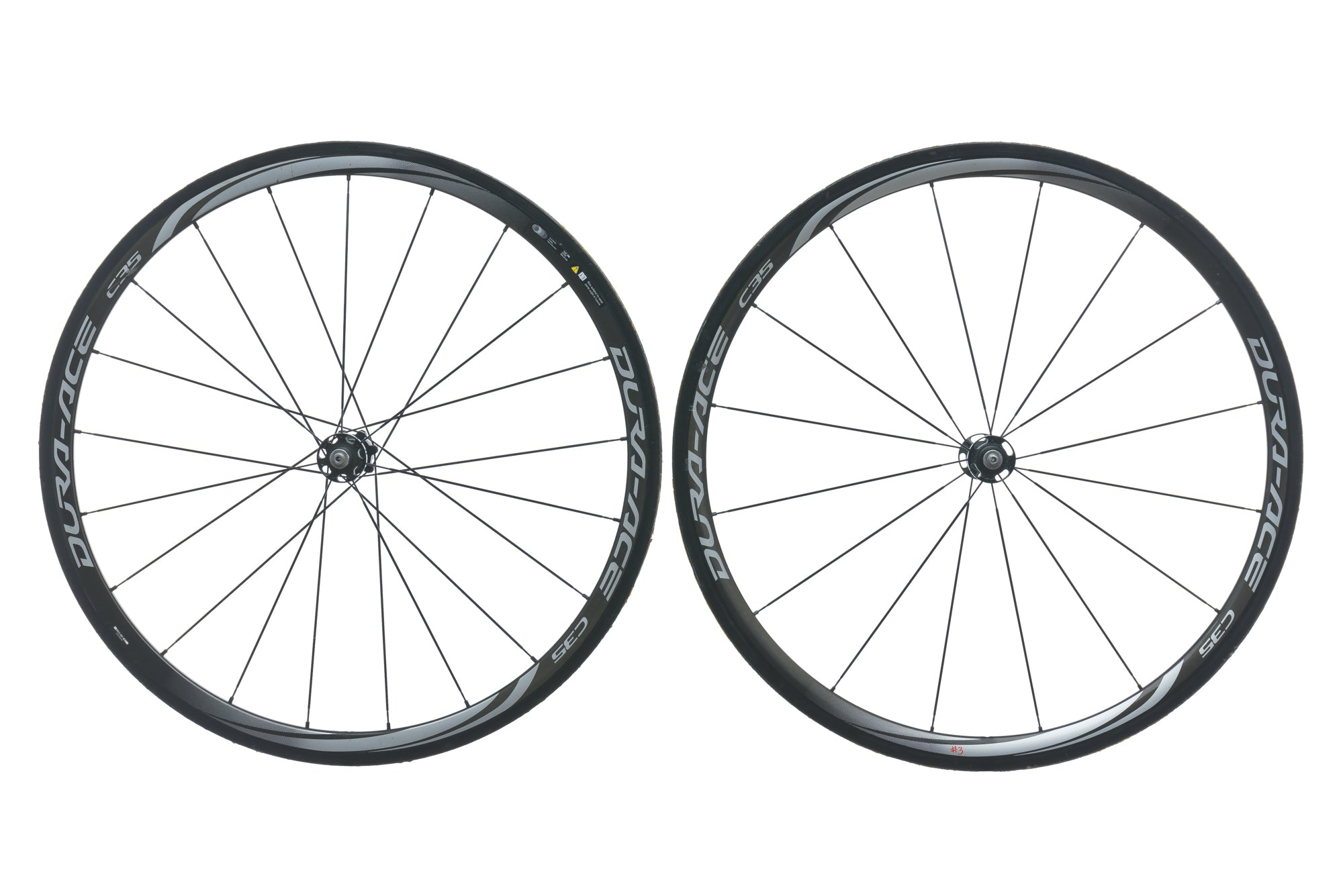 Shimano Dura Ace C35 WH-9000 Carbon Tubular 700c Wheel Set drive side