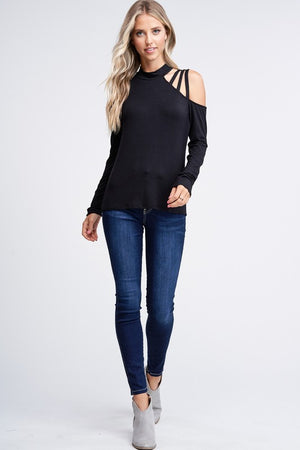 Long Sleeve Solid Knit Top With Strappy Details