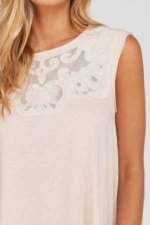 Sleeveless Lace Neckline  A Line Top!