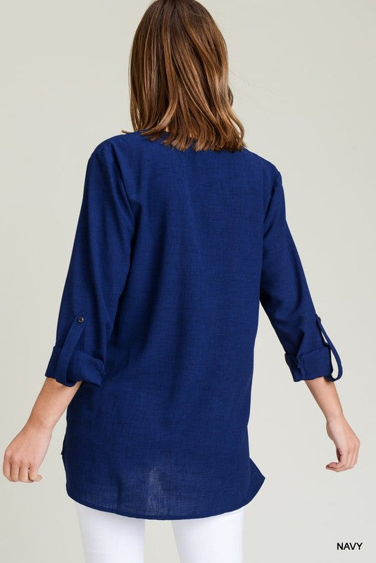 Solid Collarless Roll Up Sleeve Top!