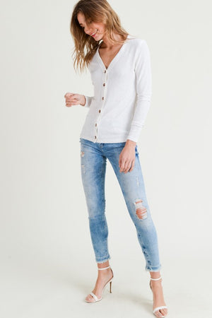 D&R Lightweight Ribbed Button Up Top