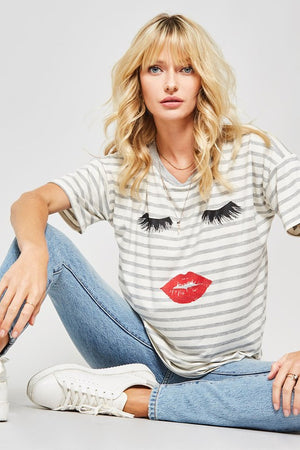 Eyes and Lips Striped Short Sleeve Graphic Top