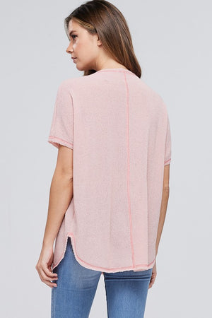 Short Sleeve Oversize Solid Knit Top