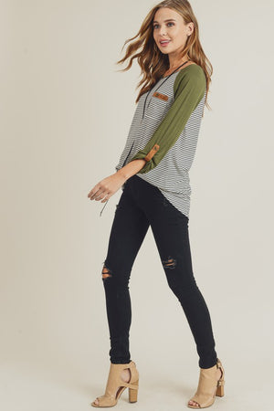 Stripe Raglan Top With Roll Up Detail!