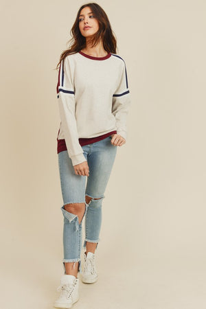 Stripe Detailed Sweatshirt With Contrast Color!