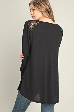 Thermal & Lace Fabric Mixed Long Sleeve Knit Top!