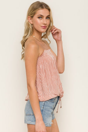 Smock In Lace Up Stripe Off Shoulder Bandeau Top!