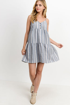 Button Down Front Cancan Sleeveless Dress!