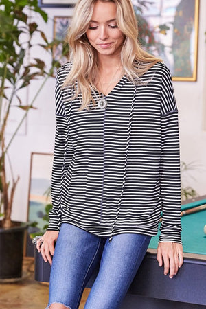Long Sleeve Striped Knit Hoodie