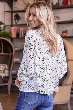 Polka Dot Ruffled Round Neck Woven Top