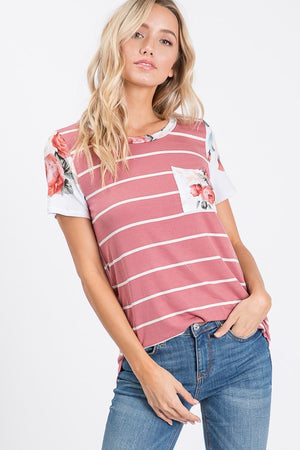 Striped Floral Pocket Tee!