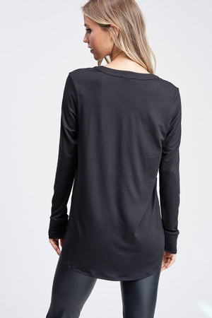 Long Sleeve Solid Knit Top With V-Neck