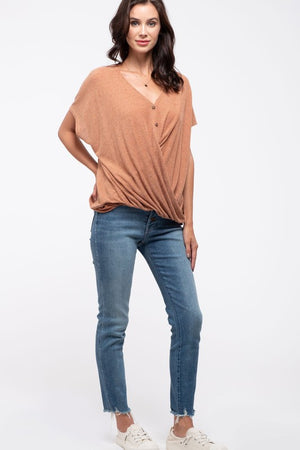 Button-Down Twist-Hem Top