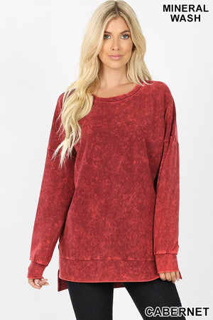 Mineral Wash Round Neck High-Low Hemline