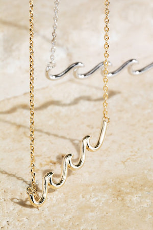 Brass Wave Pendant Necklace!