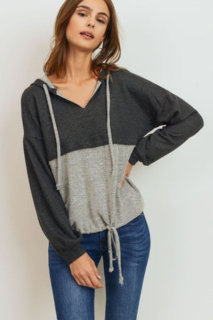 French Terry Raw Edge Neck Hoodie Long Sleeve Top!