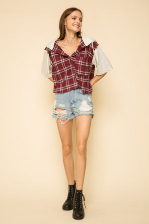 Plaid Button Down Hoodie Crop!